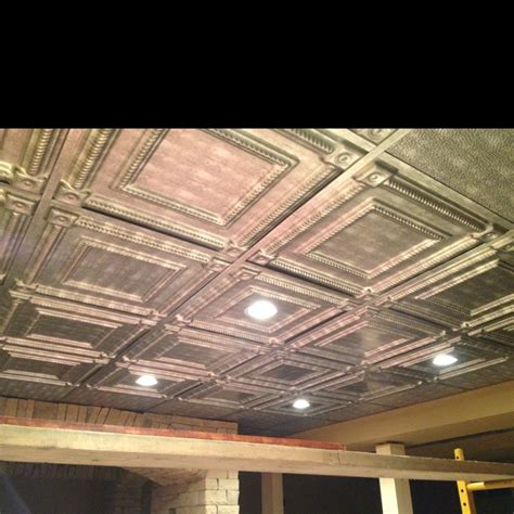 Tin Ceiling Tiles In Our Basement For The Home Pinterest Ceiling Tile Ideas For Basement