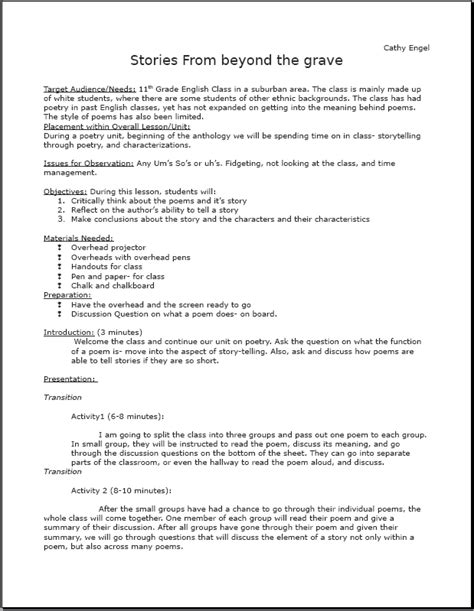 printable teacher lesson plans worksheets poetry lesson plan pdf