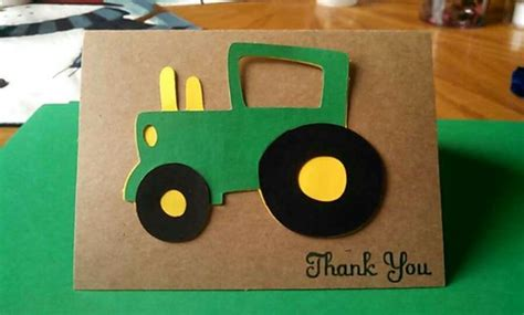pop up tractor card template thank you cards i made for my sons deere themed