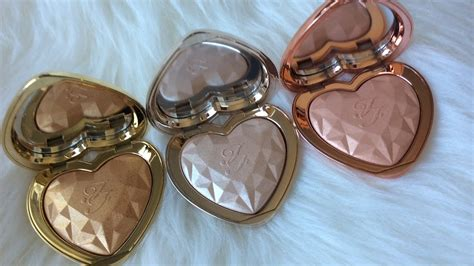 too faced love light highlighter swatches too faced love light highlighters haul swatch summer