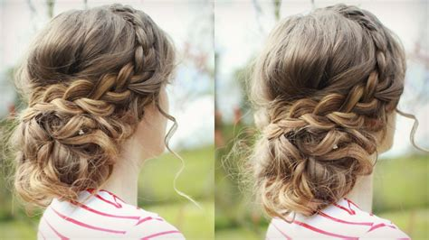 diy upstyle hairstyles diy curly updo with braids messy updo prom