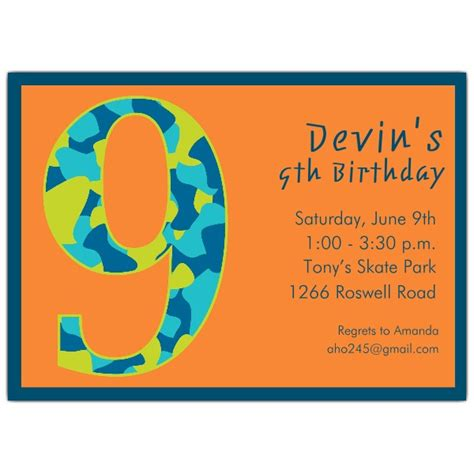 9th birthday card template 9 year birthday invitation wording dolanpedia