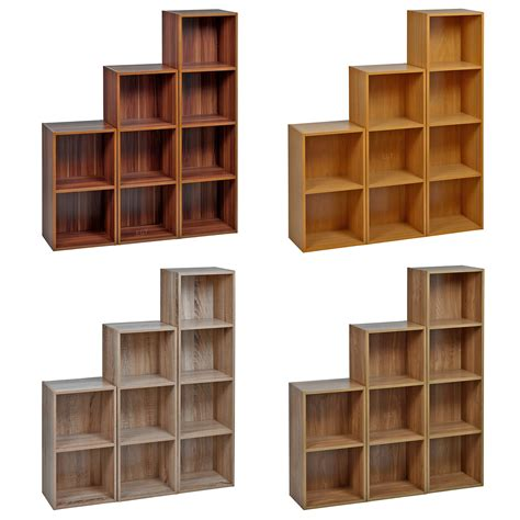 1 2 3 4 Tier Wooden Bookcase Shelving Display Storage Wood Storage Shelves