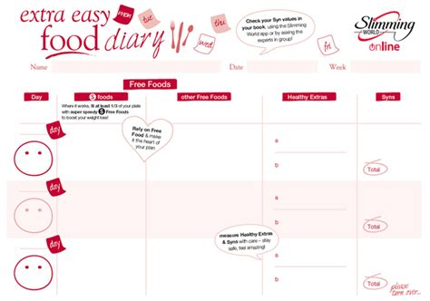 printable food diary slimming world does anyone have a printable sw diary please