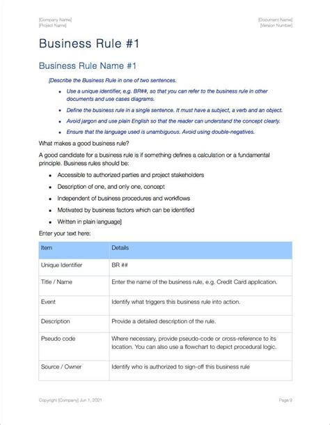 28 documenting business rules template business