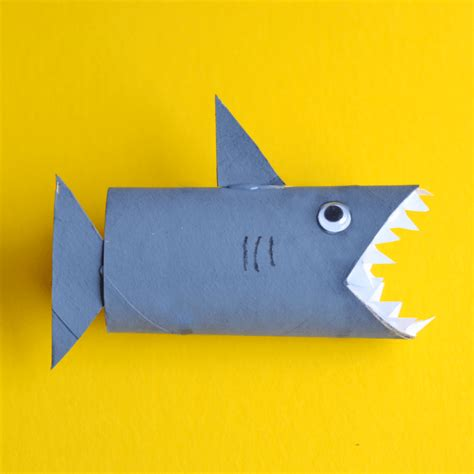 shark craft projects shark toilet paper roll craft