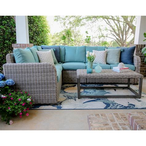 Patio Sectional Sofa Hton Bay Mill Valley 4 Patio Sectional Set With Parchment Cushions 143 002 4secole