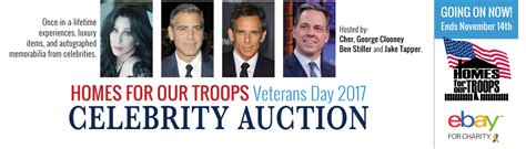 celebrity auction house homes for our troops celebrity veterans day auction