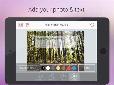 aggiungere testo alle foto carte builder come creare e inviare cartoline gratis app