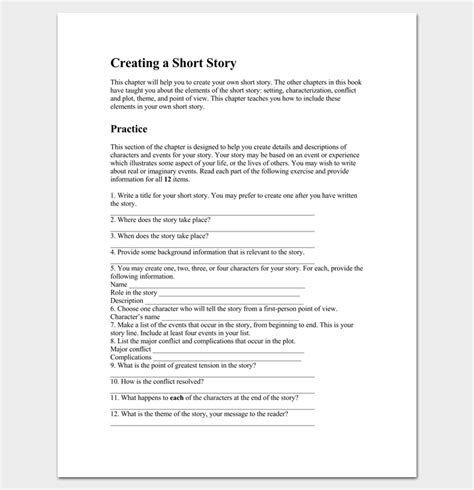 story outline template for story outline template 15 for word and pdf format