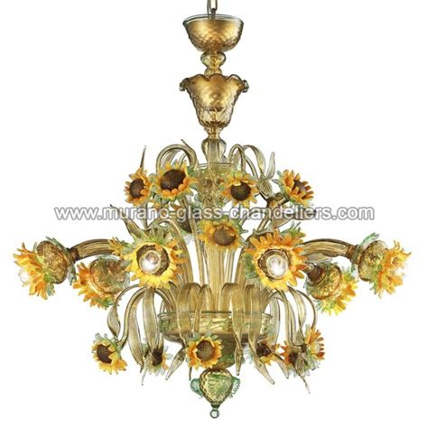 venetian glass chandelier lighting quot girasole quot 6 lights sunflowers murano glass chandelier