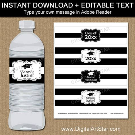 graduation labels template free black and white graduation water bottle label template high