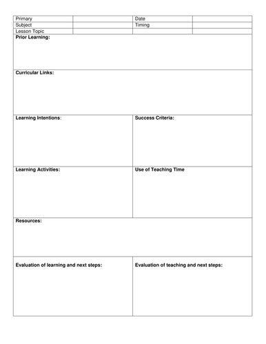 blank 8 step lesson plan template by kristopherc