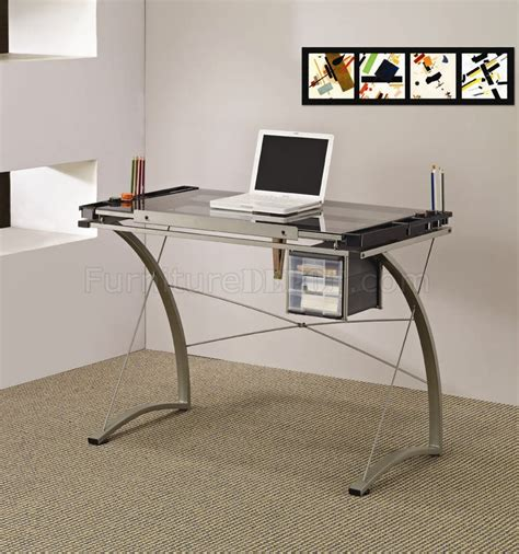 glass top metal base modern drafting home office desk