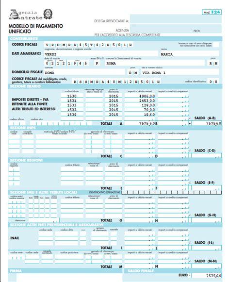 codici ufficio il modello f24 per il pagamento delle imposte in