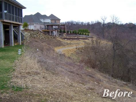sloped backyard before and after april 2015 home landscaping