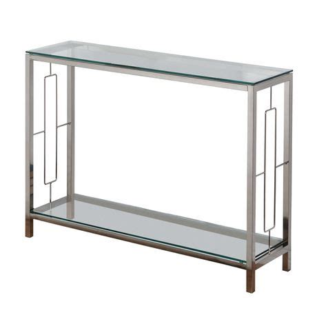 all glass console table worldwide homefurnishings chrome glass console table