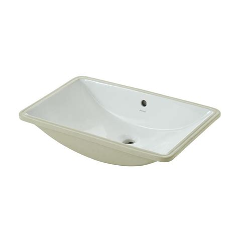 shop white undermount rectangular bathroom sink with overflow at lowes