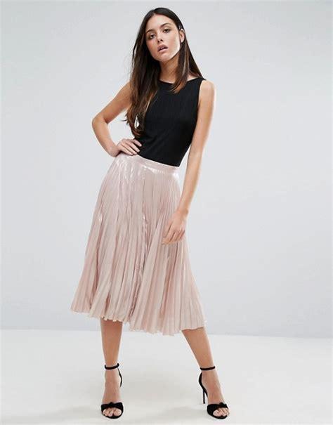warehouse warehouse pleated lame skirt