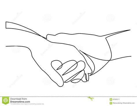 dibujo lineal continuo de llevar a cabo las manos juntas