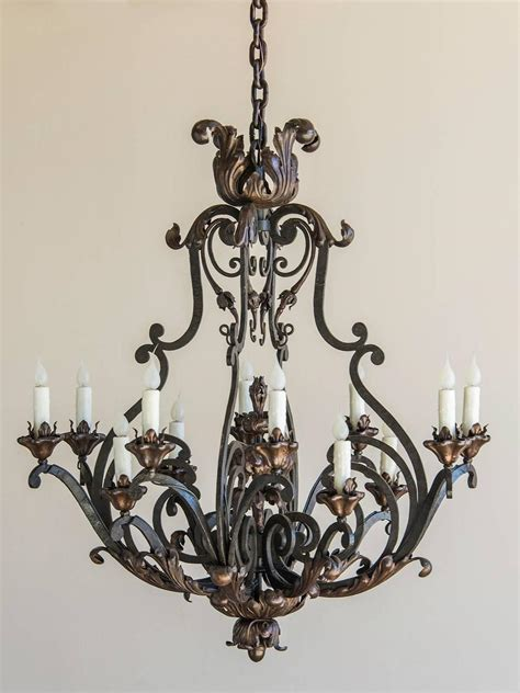 Forged Iron Chandeliers Forged Iron Antique Twelve Light Chandelier Circa 1890 At 1stdibs