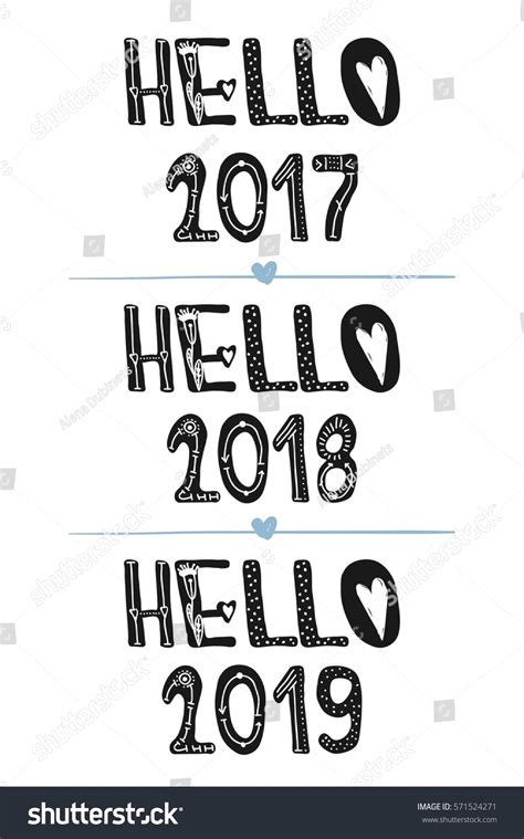 hello 2017 hello 2018 hello 2019 stock vector 571524271