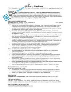 mechanical engineer project manager sle resume sle