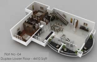 Duplex House 3d Plans Images