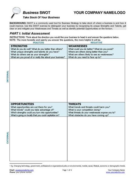 this business swot analysis worksheet provides top notch