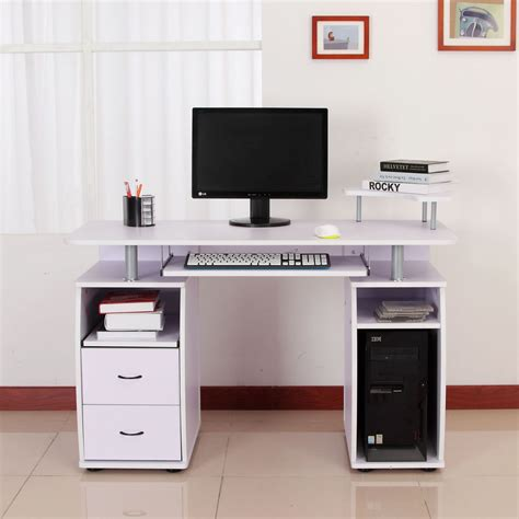 computer desk with monitor shelf homcom computer desk study table pc desktop w monitor