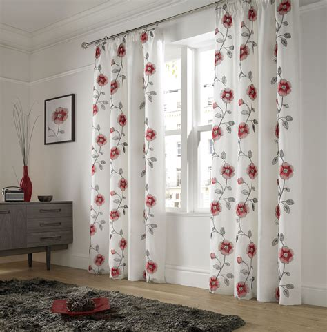poppy curtains embroidered poppy red white lined pencil pleat voile