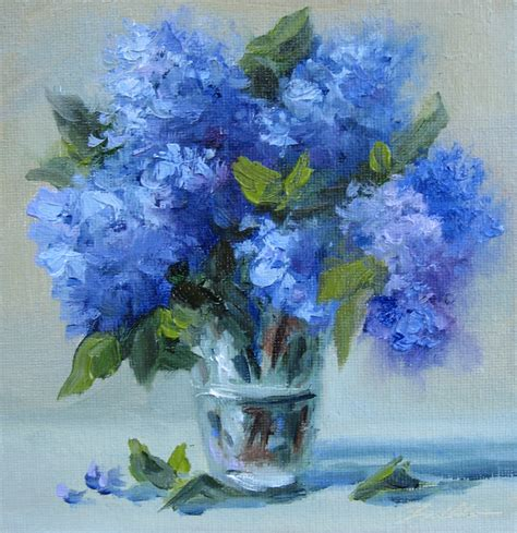 Vase Flower Painting by Pat Fiorello Elevates Flower Study 26 Blue