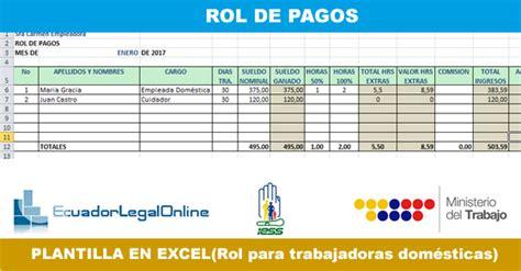 pago por hora a empleada domestica en el 2016 rol de pagos para empleadas dom 233 sticas ecuadorlegalonline