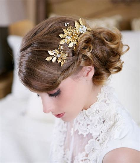 Fashion Hair Accecories A49014 Gold sale gold hair pin and comb set wedding flower headpiece flower bridal hair