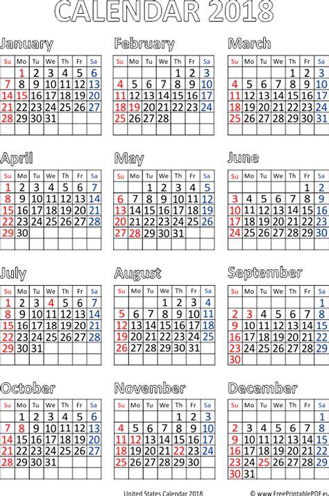 Calendã Escolar 2017 18 Word Us 2018 Calendar Pdf Free Printable Pdf