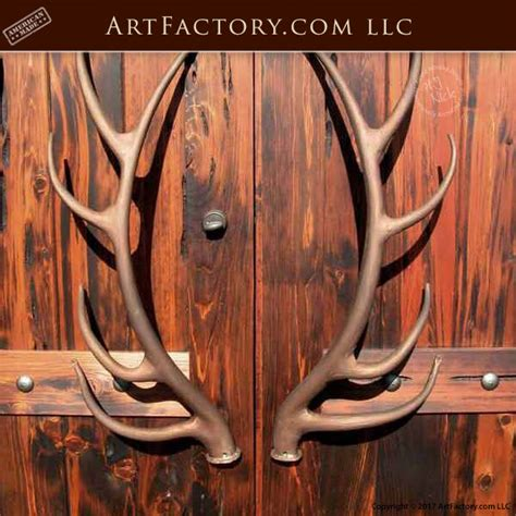 Antler Door Handles - elk antler door pulls custom forged wrought iron