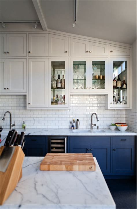 Dark Blue Kitchen by Get The Look Blue And White Kitchens Tile Mountain