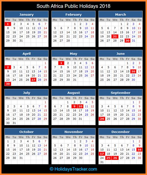 printable calendar 2018 south africa with public holidays south africa public holidays 2018 holidays tracker