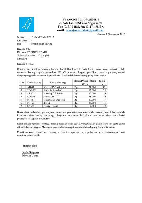 List Barang Elektronik Surat Penawaran by Contoh Surat Permintaan Barang Terbaru