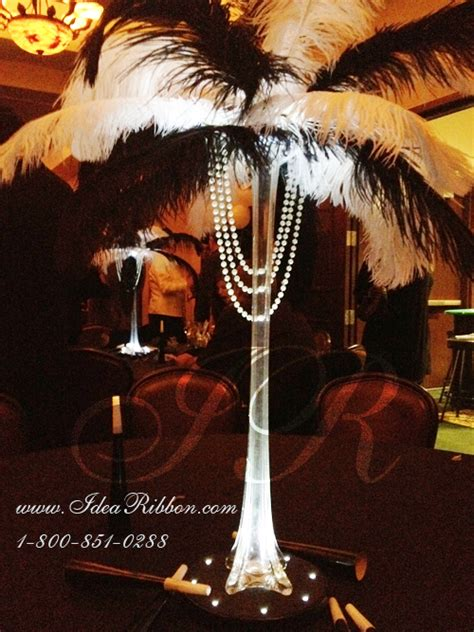 black and white ostrich feather centerpieces idearibbon
