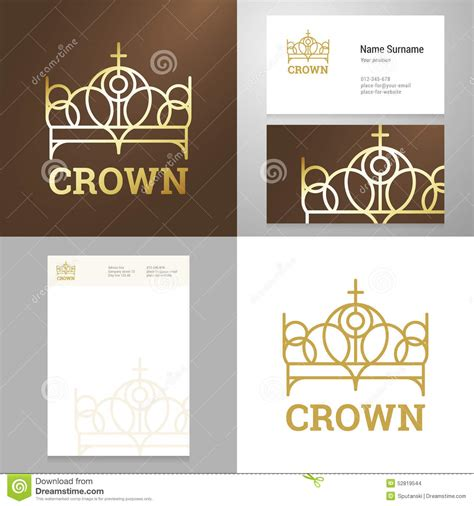 Card With Logo Template by Design Gold Crown Icon Logo Element With Business Card
