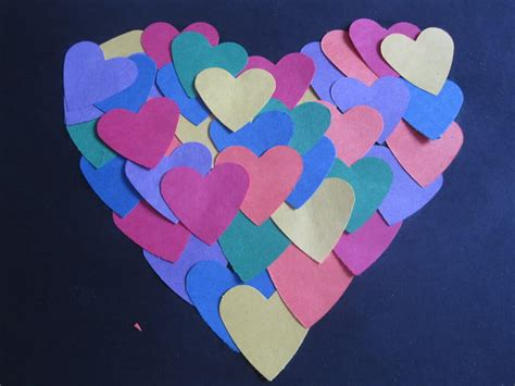 Craft Paper Hearts - arts and crafts for shapes