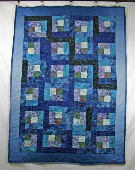 Patchwork Log Cabin - handmade quilt blue log cabin quilt crib quilt