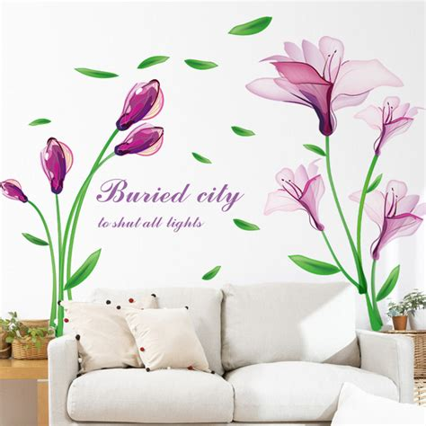 Hanging Lavender Wall Sticker Am7014 aliexpress buy removable purple flower wall sticker tv sofa backdrop bedroom wall