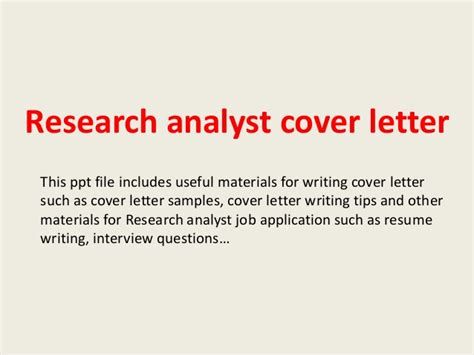 research analyst cover letter research analyst cover letter