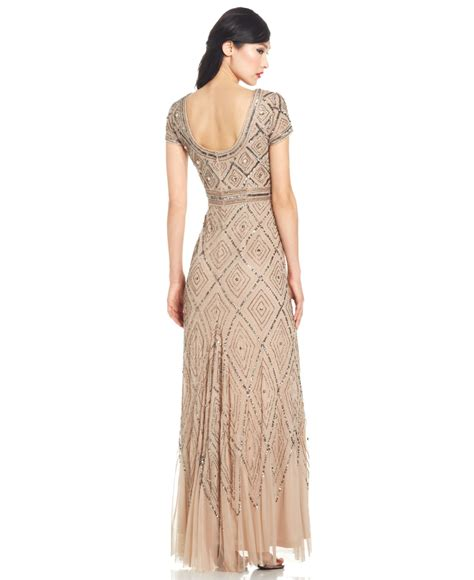 cap sleeve beaded illusion gown papell cap sleeve beaded illusion gown in