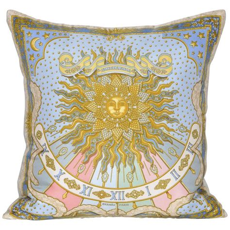 Hermes Pillows by Vintage Hermes Blue Silk Scarf And Linen Cushion
