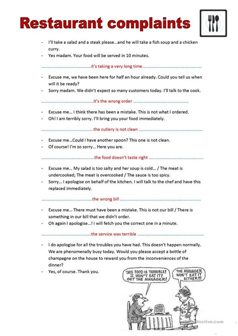 Complaint Letter Exercises Pdf Restaurant Complaints Worksheet Free Esl Printable Worksheets Made By Teachers