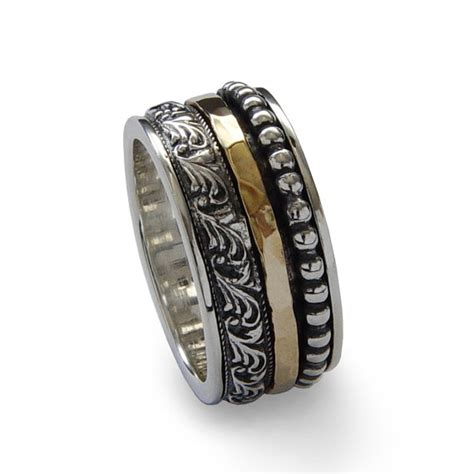 mixed metal spinner ring silver gold copper spinner ring mixed metals spinner ring sterling silver gold filled man