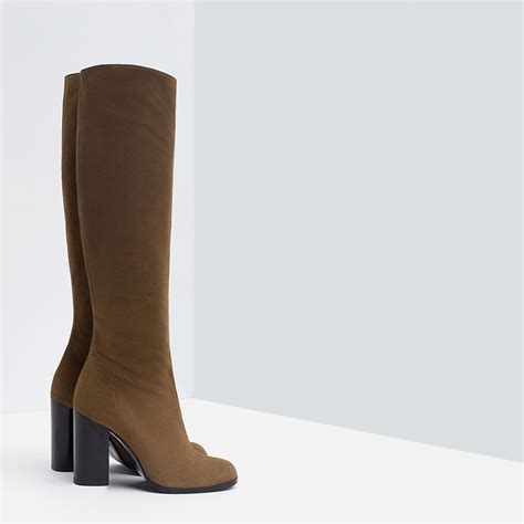 high heel brown leather boots zara high heel leather boots in brown lyst